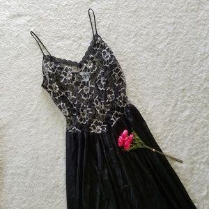 Vintage Black & Gold Lace Nightgown Lingerie
